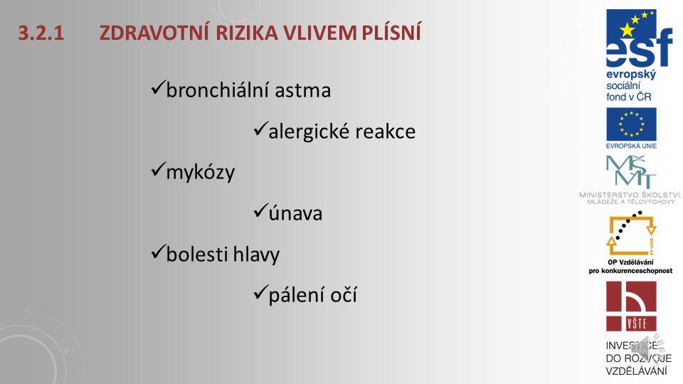 3.2.1 ZDRAVOTNÍ RIZIKA VLIVEM PLÍSNÍ bronchiální astma alergické reakce mykózy únava bolesti hlavy pálení očí
