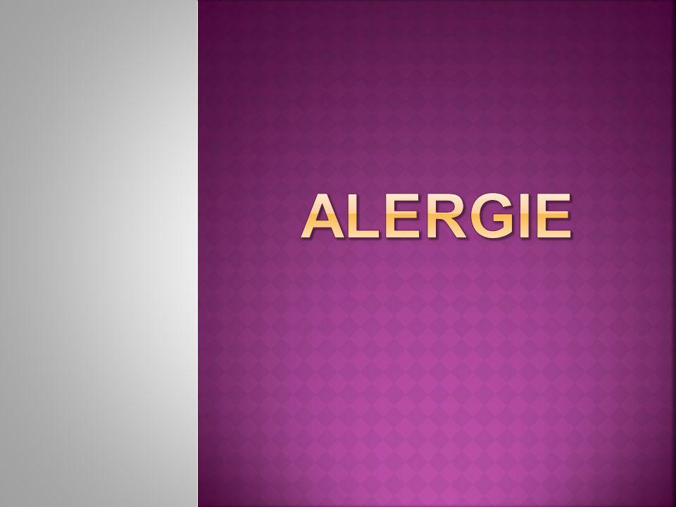  alergie= zvýšená citlivost na látky  alergeny, které normálně člověku žádné obtíže či zdravotní problémy nezpůsobují, u citlivého člověka vyvolávají alergickou reakci  nejčastější alergeny:  pyl, prach, peří, zvířecí srst, roztoči  chemikálie v pracích a čistících prostředcích,  v potravinách či kosmetice,  léky a potraviny- mléko, pšenice, sója, vajíčka, jahody, rajčata, citrusové plody