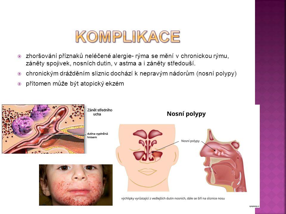  zhoršování příznaků neléčené alergie- rýma se mění v chronickou rýmu, záněty spojivek, nosních dutin, v astma a i záněty středouší.  chronickým drá
