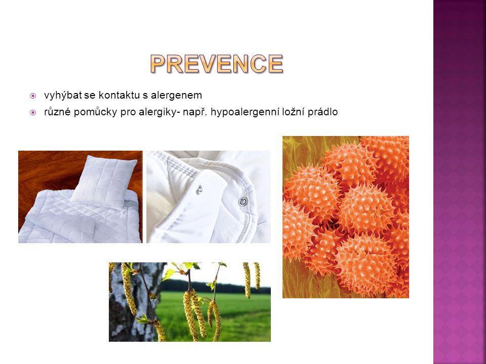  vyhýbat se kontaktu s alergenem  různé pomůcky pro alergiky- např. hypoalergenní ložní prádlo