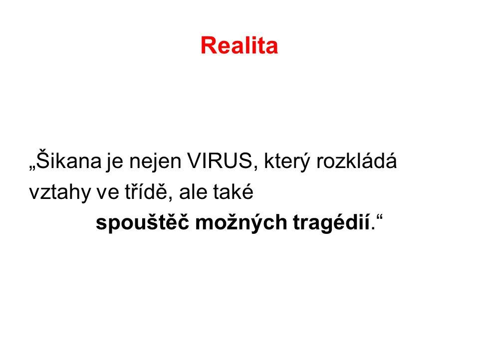 """Realita """"Šikana je nejen VIRUS, který rozkládá vztahy ve třídě, ale také spouštěč možných tragédií."""""""