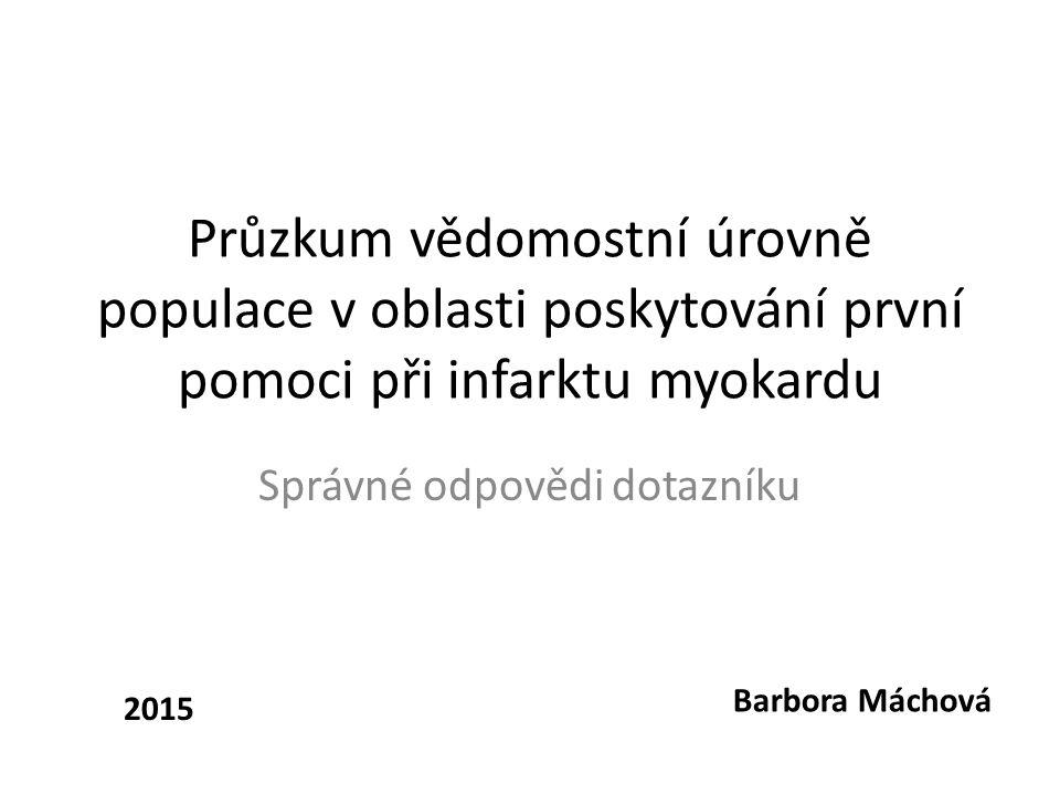 Průzkum vědomostní úrovně populace v oblasti poskytování první pomoci při infarktu myokardu Správné odpovědi dotazníku Barbora Máchová 2015