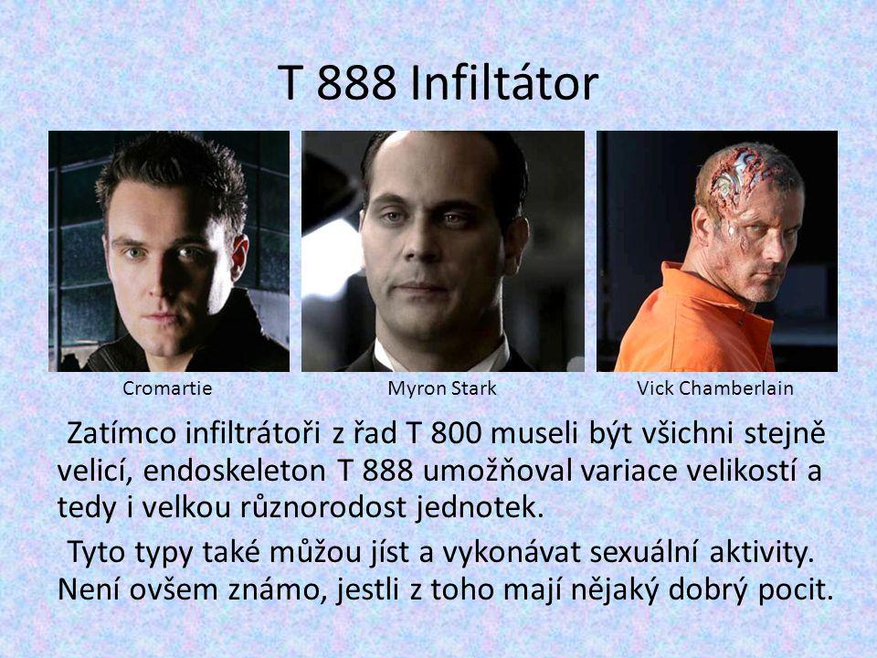 T 888 Infiltátor Zatímco infiltrátoři z řad T 800 museli být všichni stejně velicí, endoskeleton T 888 umožňoval variace velikostí a tedy i velkou růz