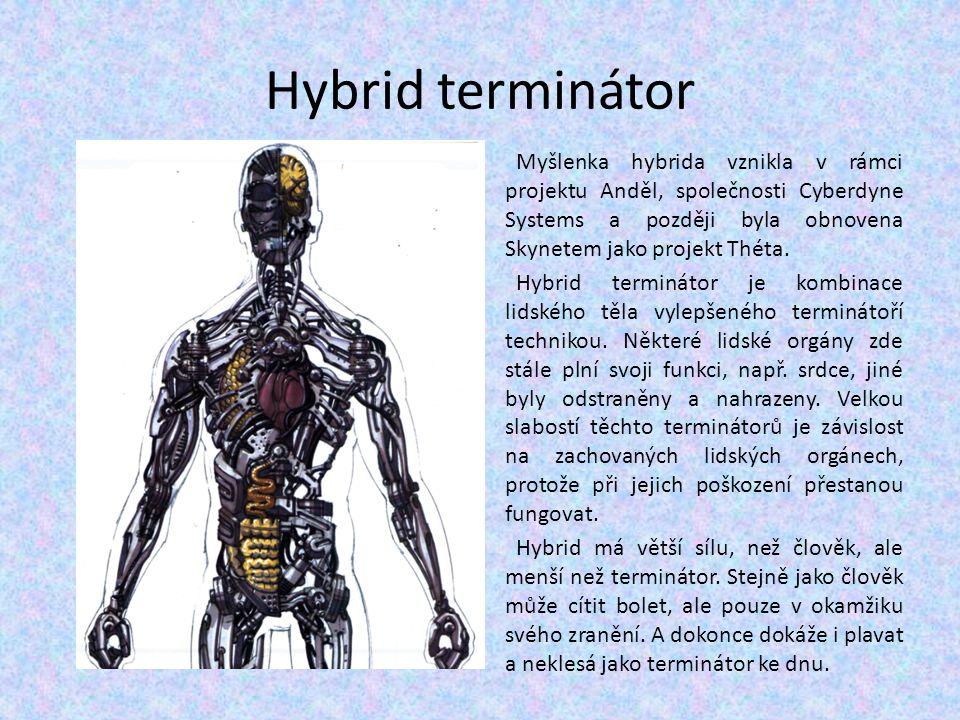 Hybrid terminátor Myšlenka hybrida vznikla v rámci projektu Anděl, společnosti Cyberdyne Systems a později byla obnovena Skynetem jako projekt Théta.
