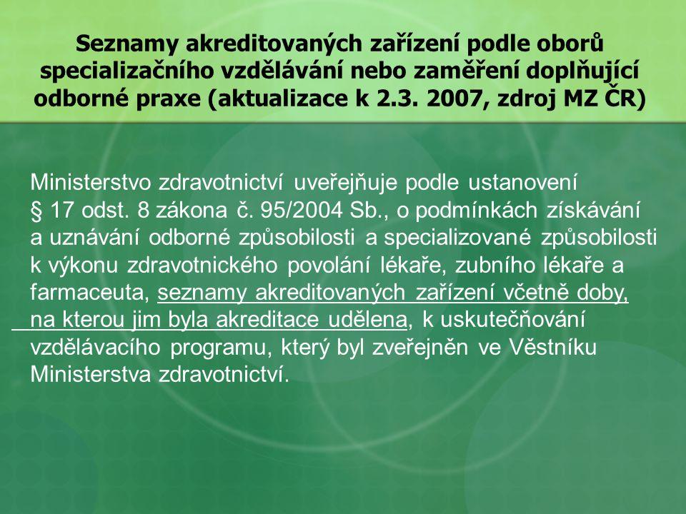 Seznamy akreditovaných zařízení podle oborů specializačního vzdělávání nebo zaměření doplňující odborné praxe (aktualizace k 2.3.