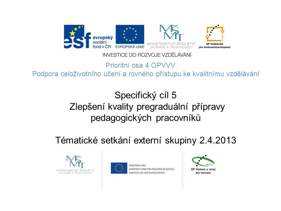 Prioritní osa 4 OPVVV Podpora celoživotního učení a rovného přístupu ke kvalitnímu vzdělávání Specifický cíl 5 Zlepšení kvality pregraduální přípravy pedagogických pracovníků Tématické setkání externí skupiny 2.4.2013