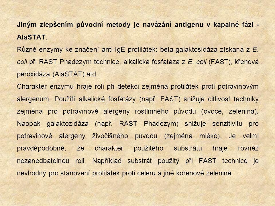 Jiným zlepšením původní metody je navázání antigenu v kapalné fázi - AlaSTAT.