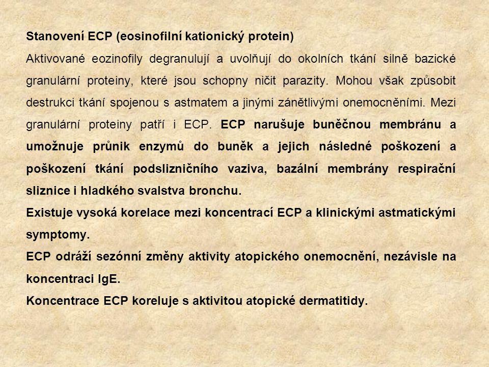 Stanovení ECP (eosinofilní kationický protein) Aktivované eozinofily degranulují a uvolňují do okolních tkání silně bazické granulární proteiny, které jsou schopny ničit parazity.