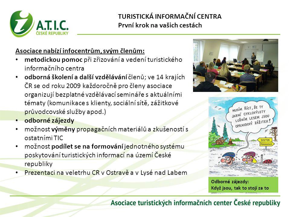 metodickou pomoc při zřizování a vedení turistického informačního centra odborná školení a další vzdělávání členů; ve 14 krajích ČR se od roku 2009 ka