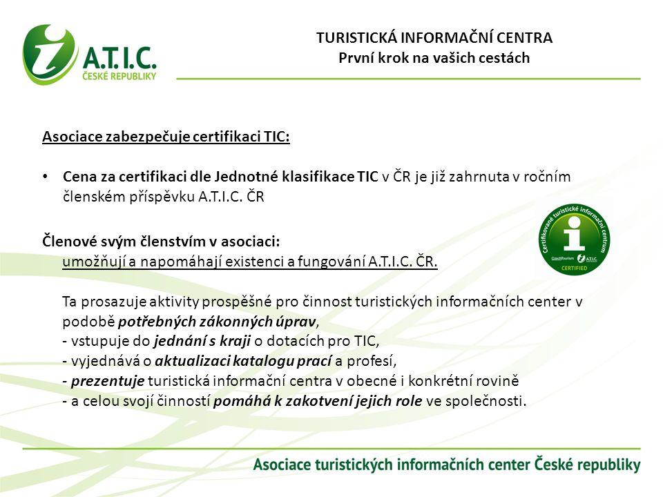 Asociace zabezpečuje certifikaci TIC: Cena za certifikaci dle Jednotné klasifikace TIC v ČR je již zahrnuta v ročním členském příspěvku A.T.I.C. ČR Čl