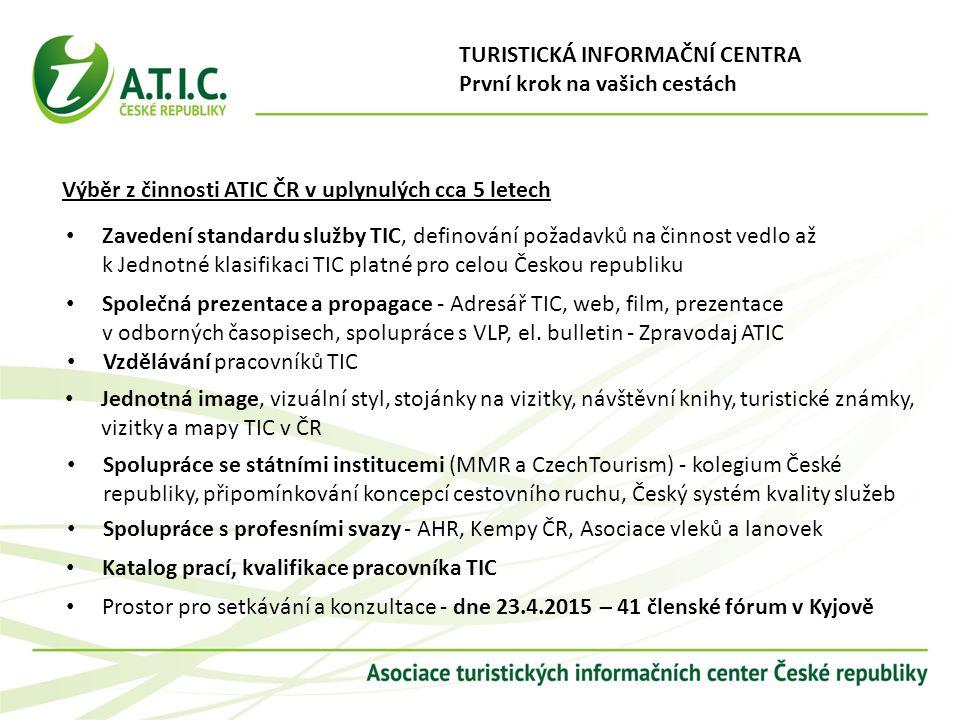 Zavedení standardu služby TIC, definování požadavků na činnost vedlo až k Jednotné klasifikaci TIC platné pro celou Českou republiku Společná prezenta