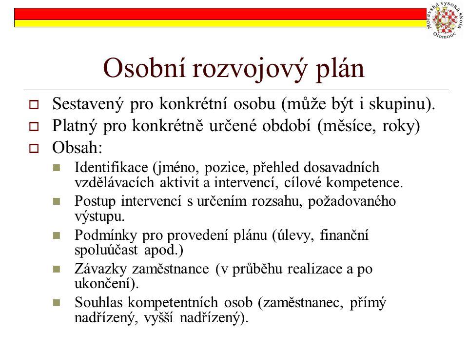 Osobní rozvojový plán  Sestavený pro konkrétní osobu (může být i skupinu).