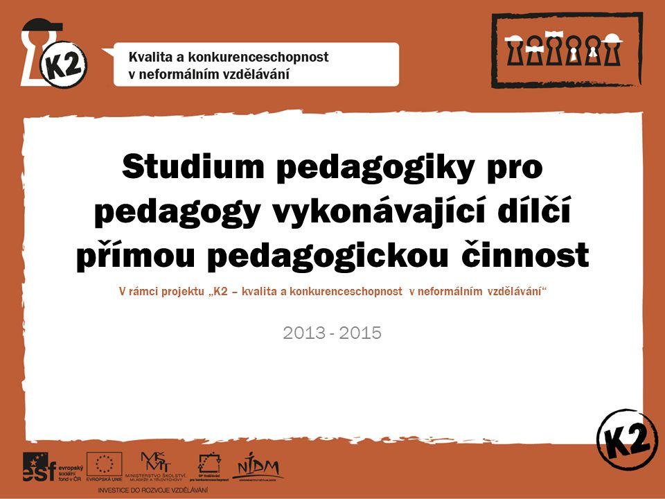 """Studium pedagogiky pro pedagogy vykonávající dílčí přímou pedagogickou činnost V rámci projektu """"K2 – kvalita a konkurenceschopnost v neformálním vzdě"""