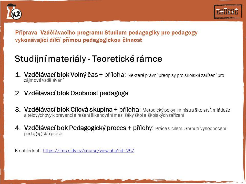 Příprava Vzdělávacího programu Studium pedagogiky pro pedagogy vykonávající dílčí přímou pedagogickou činnost Studijní materiály - Teoretické rámce 1.