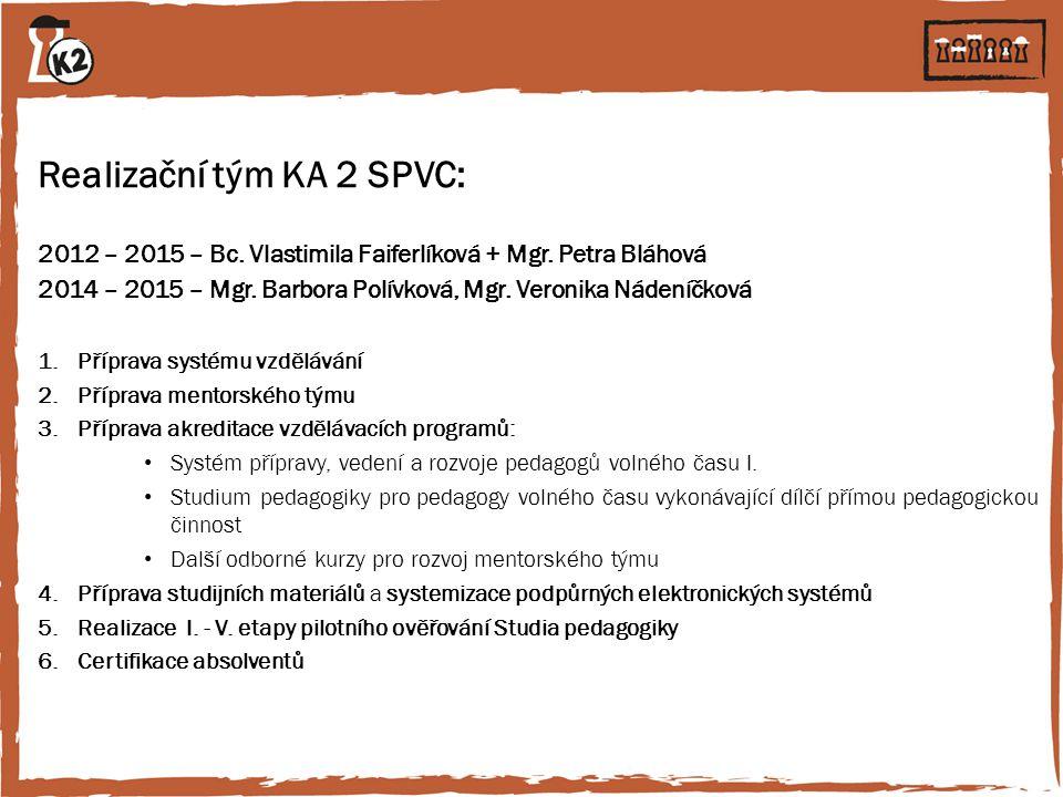Realizační tým KA 2 SPVC: 2012 – 2015 – Bc. Vlastimila Faiferlíková + Mgr. Petra Bláhová 2014 – 2015 – Mgr. Barbora Polívková, Mgr. Veronika Nádeníčko