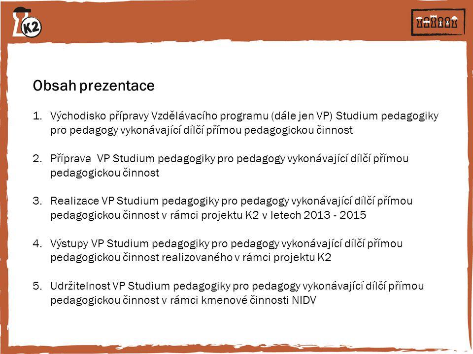 Obsah prezentace 1.Východisko přípravy Vzdělávacího programu (dále jen VP) Studium pedagogiky pro pedagogy vykonávající dílčí přímou pedagogickou činn