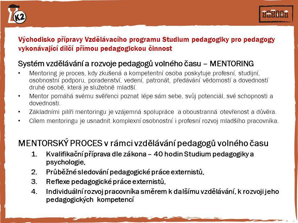 Východisko přípravy Vzdělávacího programu Studium pedagogiky pro pedagogy vykonávající dílčí přímou pedagogickou činnost Systém vzdělávání a rozvoje p
