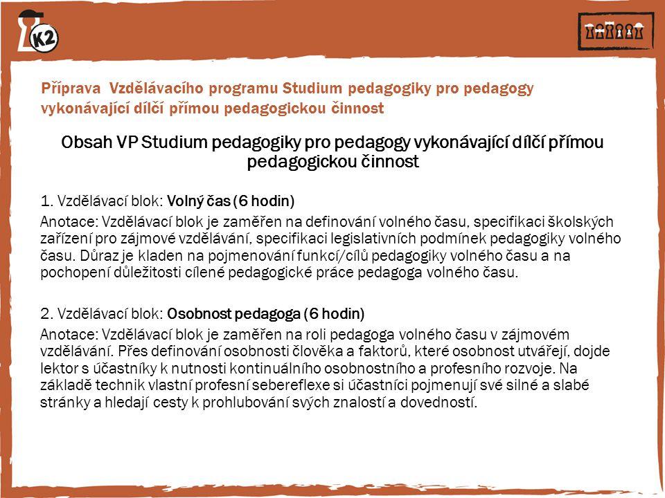 Příprava Vzdělávacího programu Studium pedagogiky pro pedagogy vykonávající dílčí přímou pedagogickou činnost Obsah VP Studium pedagogiky pro pedagogy