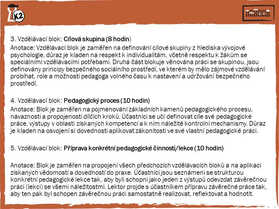 3. Vzdělávací blok: Cílová skupina (8 hodin) Anotace: Vzdělávací blok je zaměřen na definování cílové skupiny z hlediska vývojové psychologie, důraz j