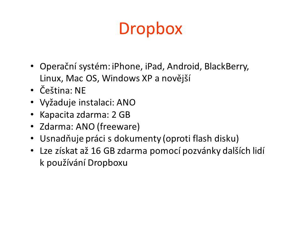 Dropbox Operační systém: iPhone, iPad, Android, BlackBerry, Linux, Mac OS, Windows XP a novější Čeština: NE Vyžaduje instalaci: ANO Kapacita zdarma: 2