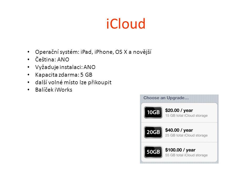 iCloud Operační systém: iPad, iPhone, OS X a novější Čeština: ANO Vyžaduje instalaci: ANO Kapacita zdarma: 5 GB další volné místo lze přikoupit Balíče