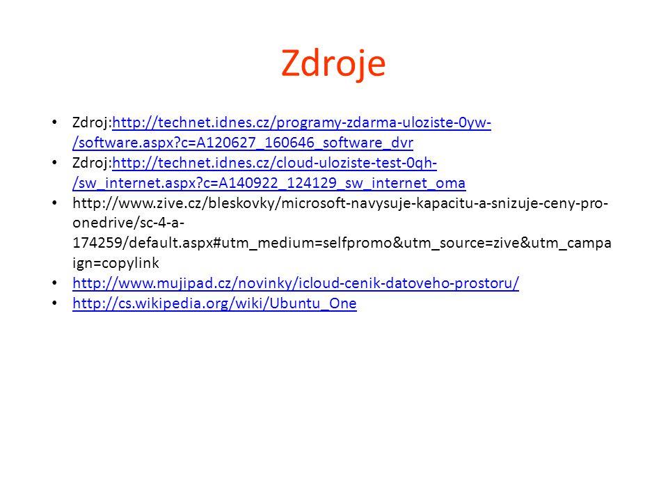Zdroje Zdroj:http://technet.idnes.cz/programy-zdarma-uloziste-0yw- /software.aspx?c=A120627_160646_software_dvrhttp://technet.idnes.cz/programy-zdarma