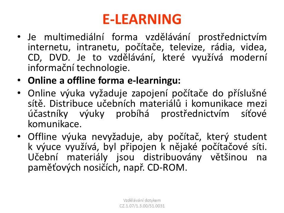 E-LEARNING Je multimediální forma vzdělávání prostřednictvím internetu, intranetu, počítače, televize, rádia, videa, CD, DVD. Je to vzdělávání, které