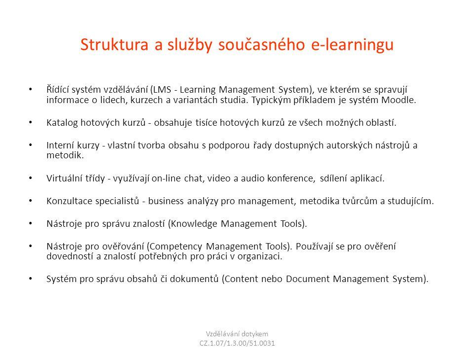 Struktura a služby současného e-learningu Řídící systém vzdělávání (LMS - Learning Management System), ve kterém se spravují informace o lidech, kurze