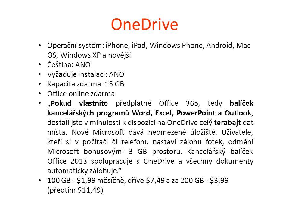 Google Drive Operační systém: iPhone, iPad, Android, Mac OS, Windows XP a novější Čeština: ANO Vyžaduje instalaci: ANO Kapacita zdarma: 15 GB přímo ve službě lze pracovat s dokumenty, bez nutnosti lokálního ukládání je možné provádět automatickou synchronizaci dat (složka Disk Google).