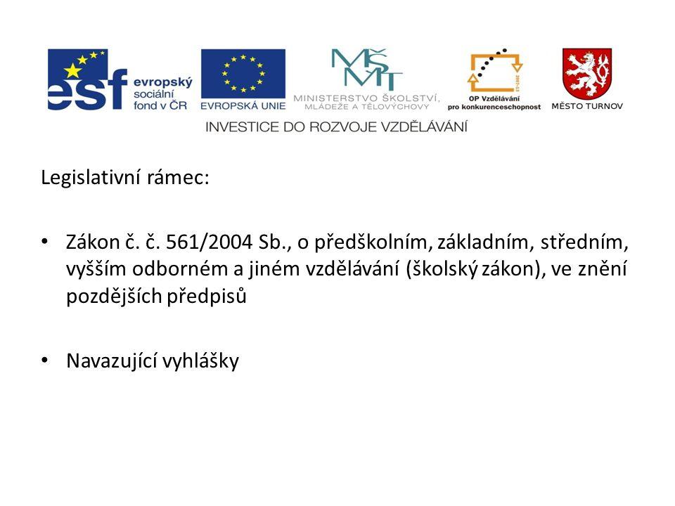 Legislativní rámec: Zákon č. č. 561/2004 Sb., o předškolním, základním, středním, vyšším odborném a jiném vzdělávání (školský zákon), ve znění pozdějš