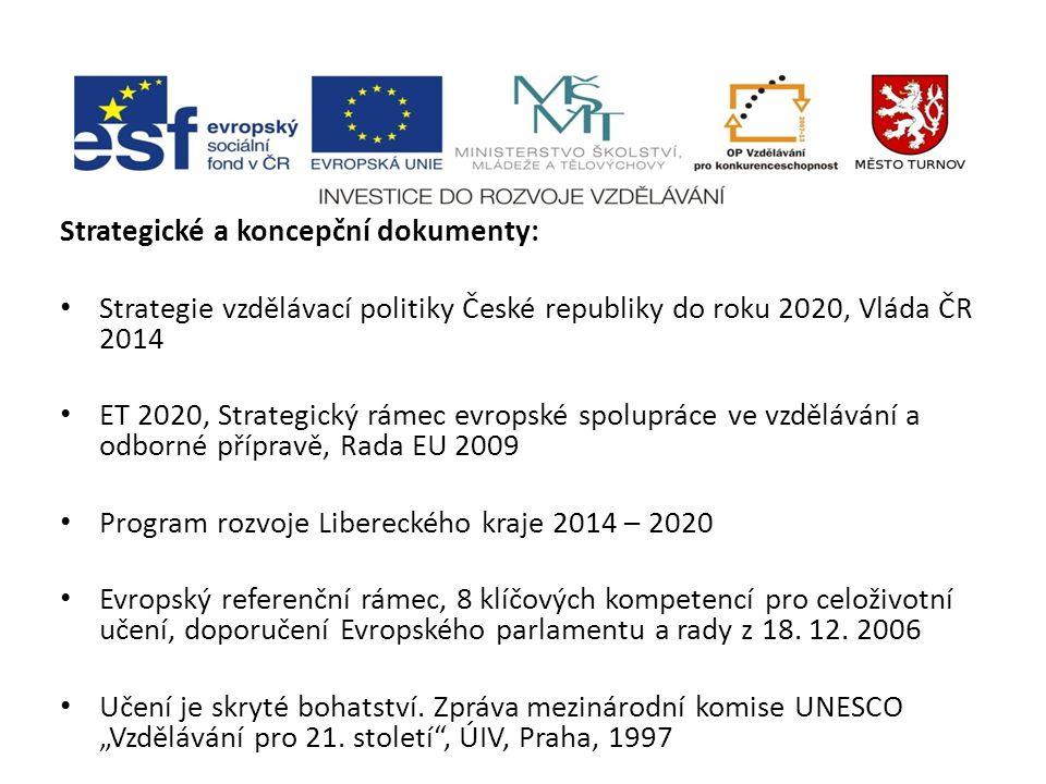 Strategické a koncepční dokumenty: Strategie vzdělávací politiky České republiky do roku 2020, Vláda ČR 2014 ET 2020, Strategický rámec evropské spolu