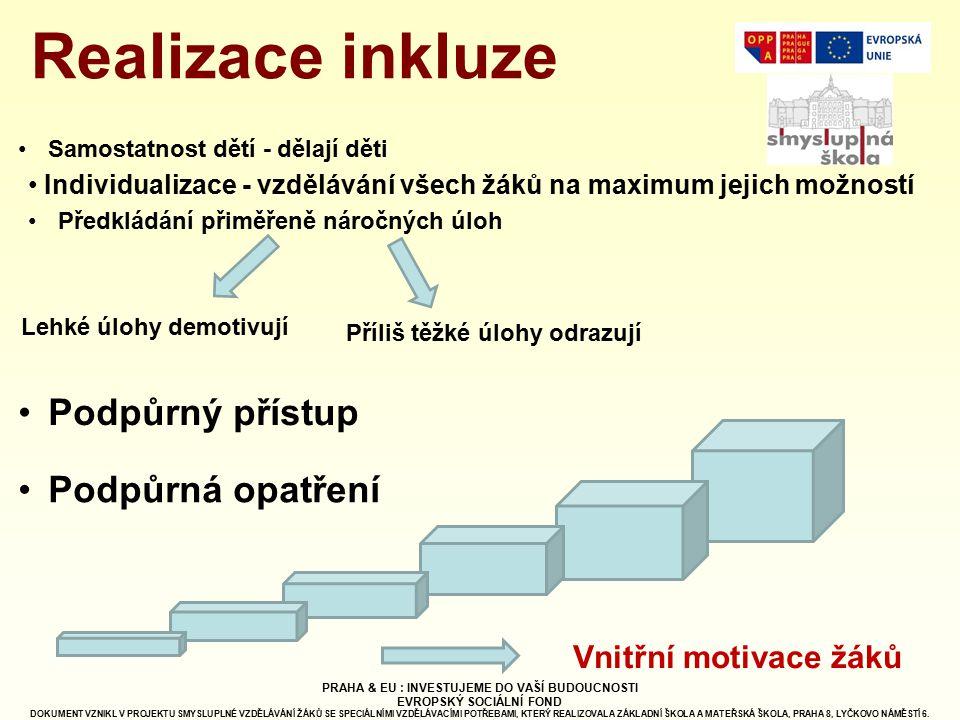 Individualizace - vzdělávání všech žáků na maximum jejich možností Samostatnost dětí - dělají děti Předkládání přiměřeně náročných úloh Lehké úlohy de