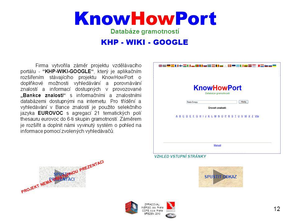 """12 SPUSTIT PREZENTACI Firma vytvořila záměr projektu vzdělávacího portálu - """"KHP-WIKI-GOOGLE"""", který je aplikačním rozšířením stávajícího projektu Kno"""