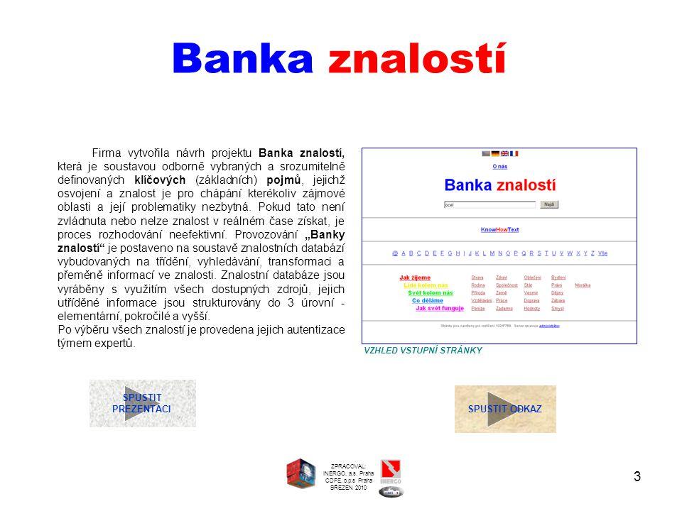 3 Banka znalostí SPUSTIT PREZENTACI SPUSTIT ODKAZ Firma vytvořila návrh projektu Banka znalostí, která je soustavou odborně vybraných a srozumitelně d