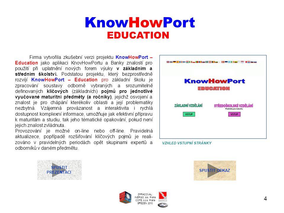 4 SPUSTIT PREZENTACI SPUSTIT ODKAZ EDUCATION KnowHowPort VZHLED VSTUPNÍ STRÁNKY ZPRACOVAL: INERGO, a.s. Praha CDFE, o.p.s Praha BŘEZEN 2010 Firma vytv