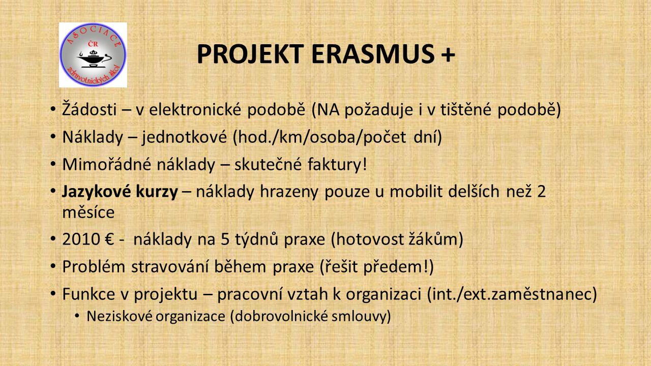 PROJEKT ERASMUS + Žádosti – v elektronické podobě (NA požaduje i v tištěné podobě) Náklady – jednotkové (hod./km/osoba/počet dní) Mimořádné náklady – skutečné faktury.