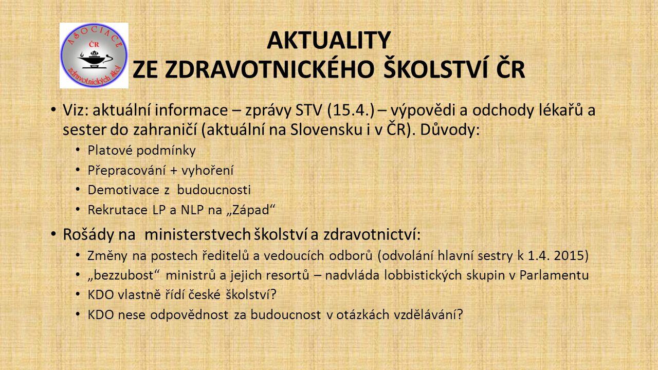 AKTUALITY ZE ZDRAVOTNICKÉHO ŠKOLSTVÍ ČR V české kotlině vládne všeobecná spokojenost Důvody.