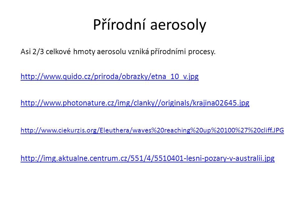Přírodní aerosoly Asi 2/3 celkové hmoty aerosolu vzniká přírodními procesy. http://www.quido.cz/priroda/obrazky/etna_10_v.jpg http://www.photonature.c