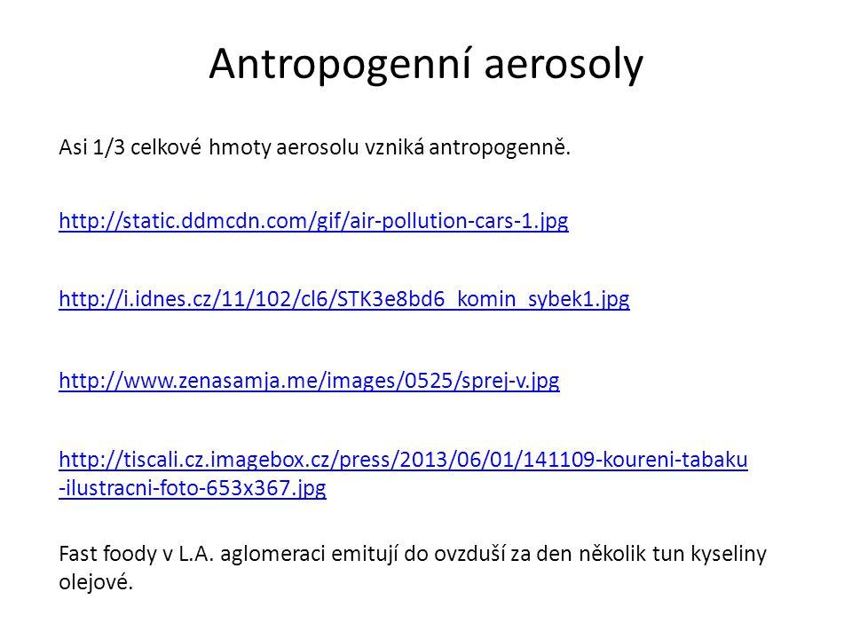Antropogenní aerosoly Asi 1/3 celkové hmoty aerosolu vzniká antropogenně.