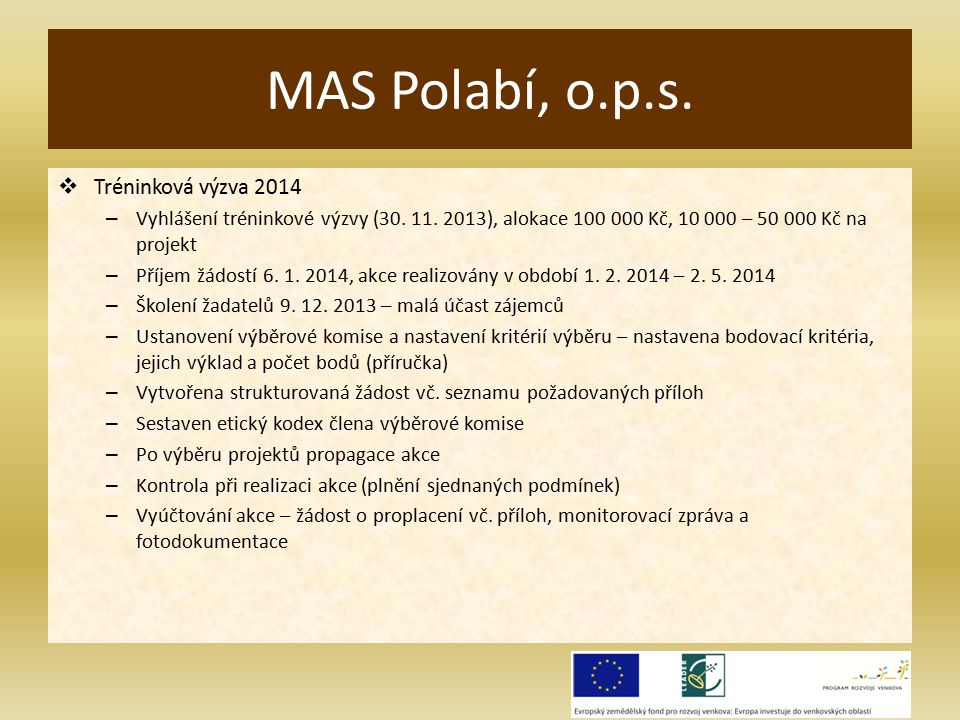  Tréninková výzva 2014 – Vyhlášení tréninkové výzvy (30.