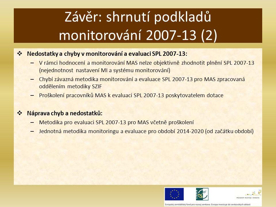  Nedostatky a chyby v monitorování a evaluaci SPL 2007-13: – V rámci hodnocení a monitorování MAS nelze objektivně zhodnotit plnění SPL 2007-13 (nejednotnost nastavení MI a systému monitorování) – Chybí závazná metodika monitorování a evaluace SPL 2007-13 pro MAS zpracovaná oddělením metodiky SZIF – Proškolení pracovníků MAS k evaluaci SPL 2007-13 poskytovatelem dotace  Náprava chyb a nedostatků: – Metodika pro evaluaci SPL 2007-13 pro MAS včetně proškolení – Jednotná metodika monitoringu a evaluace pro období 2014-2020 (od začátku období) Závěr: shrnutí podkladů monitorování 2007-13 (2)