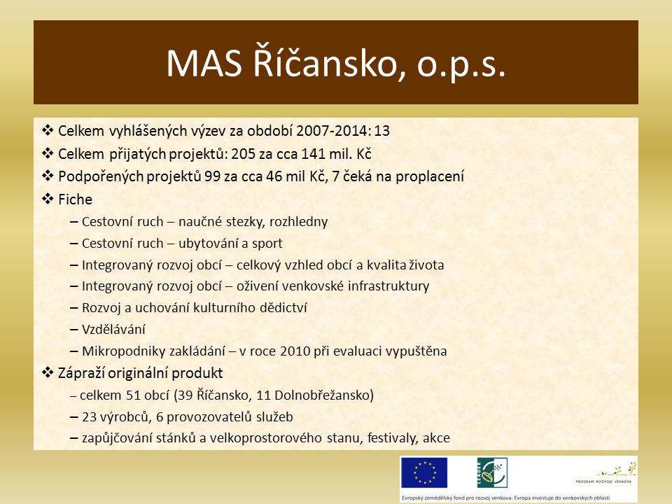  Celkem vyhlášených výzev za období 2007-2014: 13  Celkem přijatých projektů: 205 za cca 141 mil.