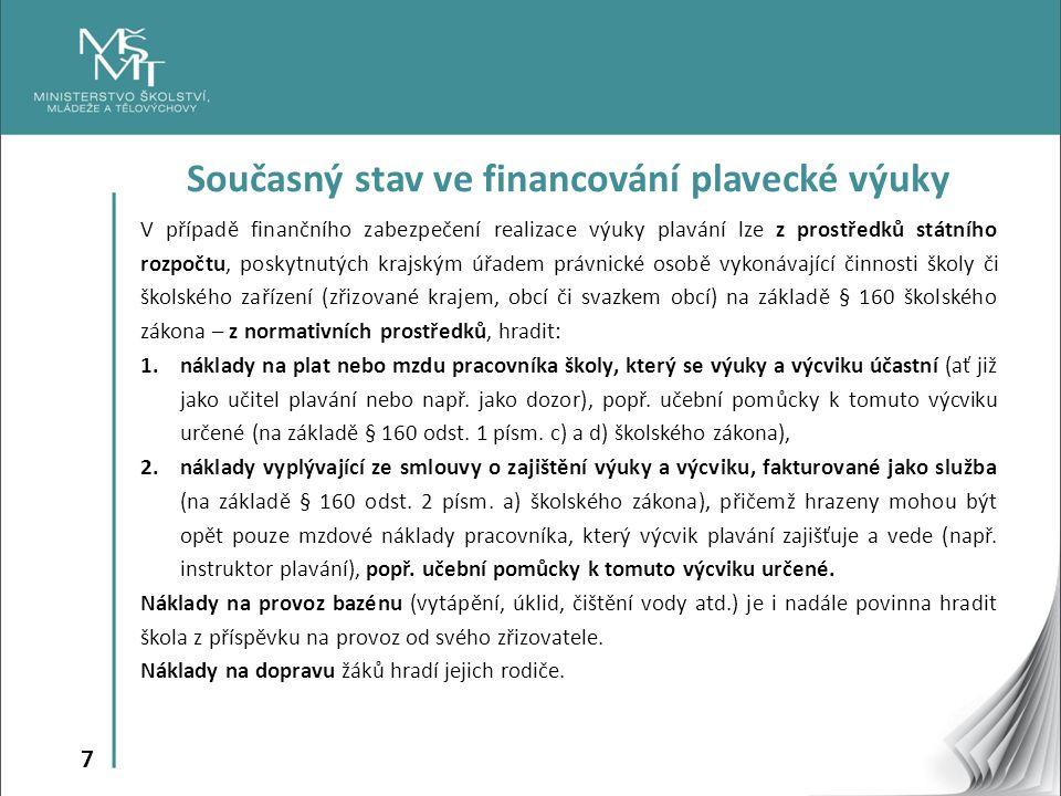 7 Současný stav ve financování plavecké výuky V případě finančního zabezpečení realizace výuky plavání lze z prostředků státního rozpočtu, poskytnutýc
