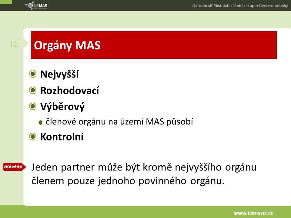 Orgány MAS Nejvyšší Rozhodovací Výběrový členové orgánu na území MAS působí Kontrolní Jeden partner může být kromě nejvyššího orgánu členem pouze jednoho povinného orgánu.