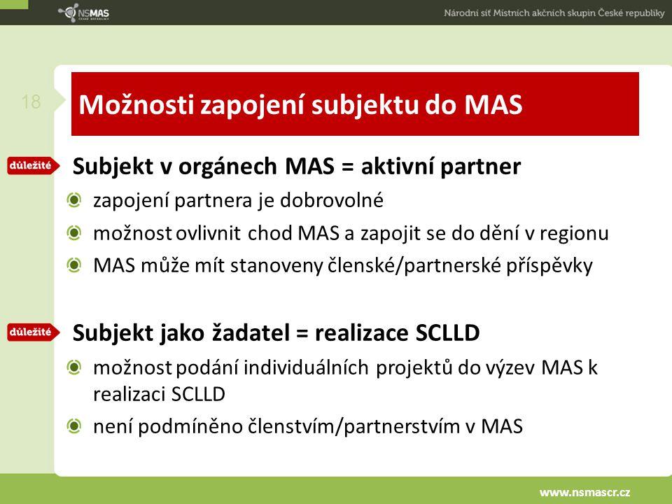 Možnosti zapojení subjektu do MAS Subjekt v orgánech MAS = aktivní partner zapojení partnera je dobrovolné možnost ovlivnit chod MAS a zapojit se do dění v regionu MAS může mít stanoveny členské/partnerské příspěvky Subjekt jako žadatel = realizace SCLLD možnost podání individuálních projektů do výzev MAS k realizaci SCLLD není podmíněno členstvím/partnerstvím v MAS 18 www.nsmascr.cz