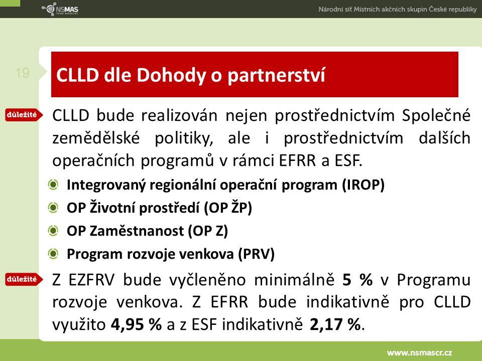 CLLD dle Dohody o partnerství CLLD bude realizován nejen prostřednictvím Společné zemědělské politiky, ale i prostřednictvím dalších operačních programů v rámci EFRR a ESF.