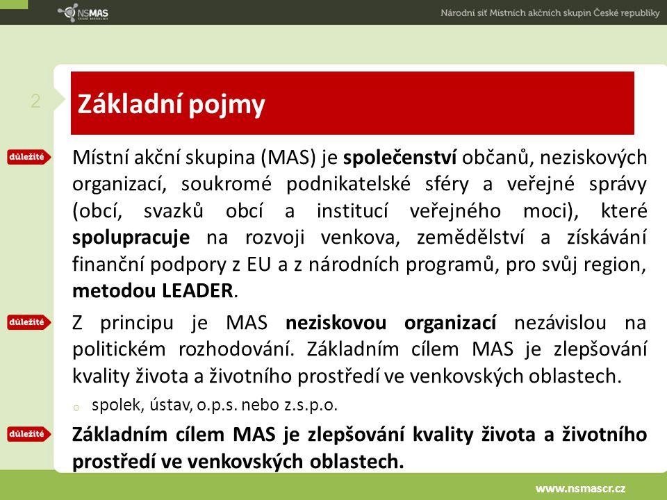Základní pojmy Místní akční skupina (MAS) je společenství občanů, neziskových organizací, soukromé podnikatelské sféry a veřejné správy (obcí, svazků