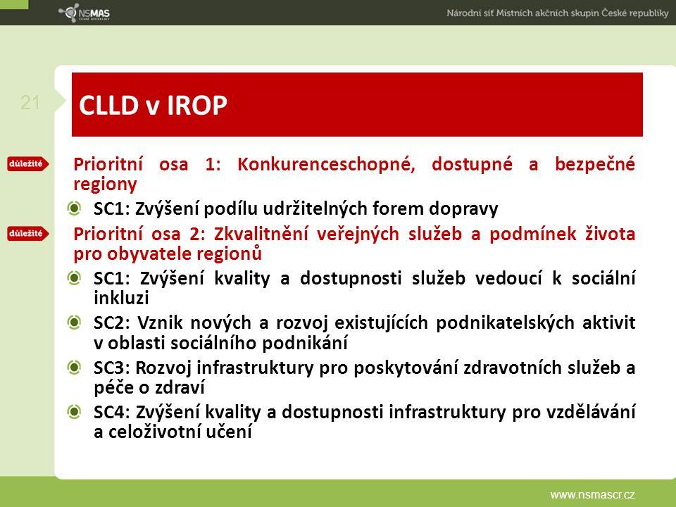 CLLD v IROP Prioritní osa 1: Konkurenceschopné, dostupné a bezpečné regiony SC1: Zvýšení podílu udržitelných forem dopravy Prioritní osa 2: Zkvalitnění veřejných služeb a podmínek života pro obyvatele regionů SC1: Zvýšení kvality a dostupnosti služeb vedoucí k sociální inkluzi SC2: Vznik nových a rozvoj existujících podnikatelských aktivit v oblasti sociálního podnikání SC3: Rozvoj infrastruktury pro poskytování zdravotních služeb a péče o zdraví SC4: Zvýšení kvality a dostupnosti infrastruktury pro vzdělávání a celoživotní učení www.nsmascr.cz 21