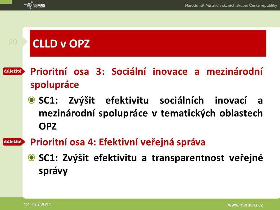 CLLD v OPZ Prioritní osa 3: Sociální inovace a mezinárodní spolupráce SC1: Zvýšit efektivitu sociálních inovací a mezinárodní spolupráce v tematických oblastech OPZ Prioritní osa 4: Efektivní veřejná správa SC1: Zvýšit efektivitu a transparentnost veřejné správy 12.