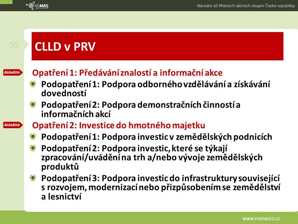 CLLD v PRV Opatření 1: Předávání znalostí a informační akce Podopatření 1: Podpora odborného vzdělávání a získávání dovedností Podopatření 2: Podpora demonstračních činností a informačních akcí Opatření 2: Investice do hmotného majetku Podopatření 1: Podpora investic v zemědělských podnicích Podopatření 2: Podpora investic, které se týkají zpracování/uvádění na trh a/nebo vývoje zemědělských produktů Podopatření 3: Podpora investic do infrastruktury související s rozvojem, modernizací nebo přizpůsobením se zemědělství a lesnictví www.nsmascr.cz 30